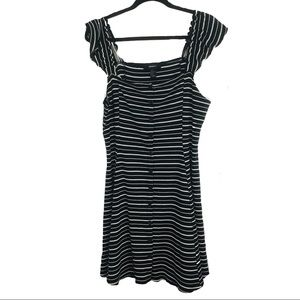 FOREVER 21 Black White Striped Mini Dress Plus 1XL